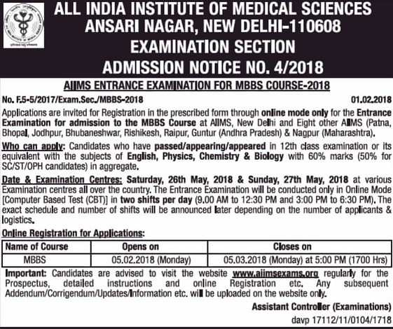 AIIMS MBBS Notification