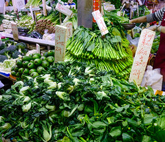 Vegetables and fruits at local market