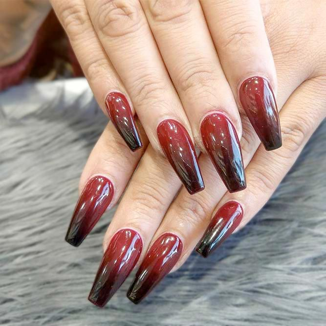 Top 100 Red Ombre Nails Coffin