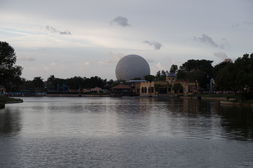 View of Spaceship Earth from World Showcase area