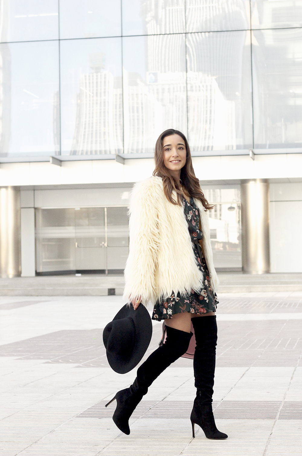 White fur faux coat flower dress black over the knee boots coach bag winter outfit 201807