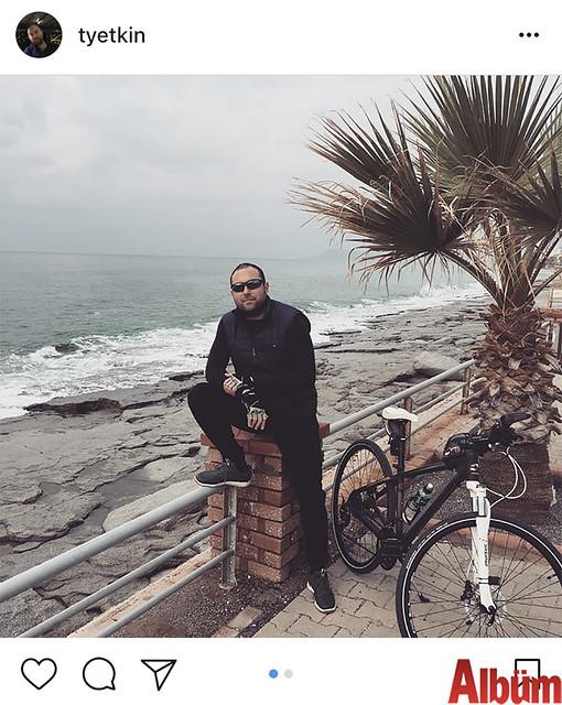 Tahsin Yetkin, Alanya sahilinde bisikletiyle keyifli bir tura çıktı.