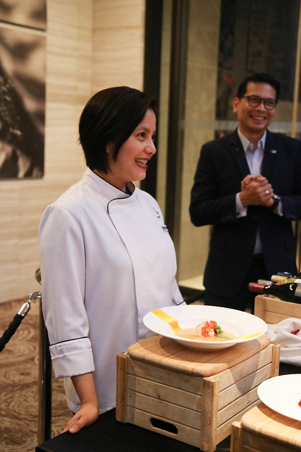 Exec. Sous Chef Giovanna Sibala presenting the 3-course dinner for Valentine's Day