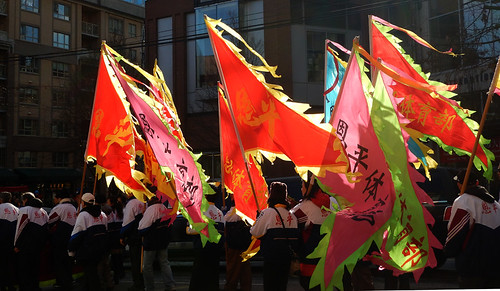 Bright flags in the Chinese New Year Parade in Vancouver, Canada