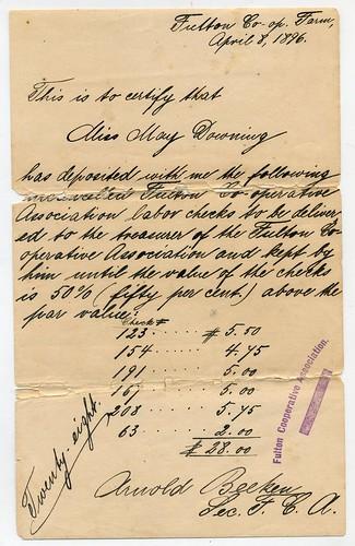 receipt from the Fulton Co-op Association