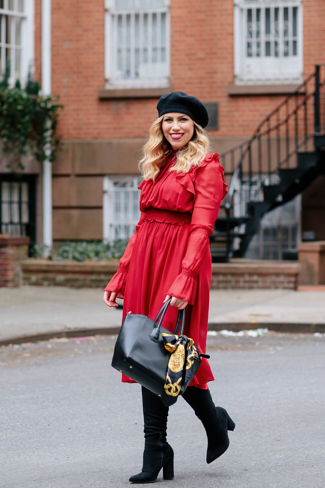 Lady in Red Red Midi Dress Black Beret Over the Knee Boots Winter NYFW Outfit Style