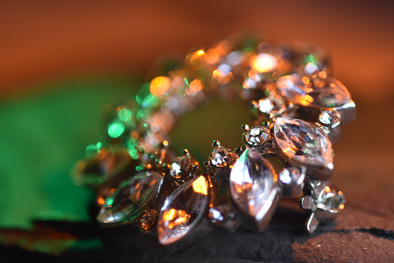 Broach with Amber and Green