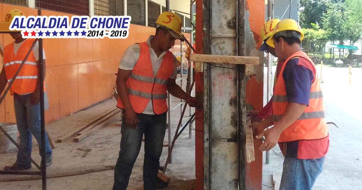 Trabajos en la Terminal Terrestre de Chone