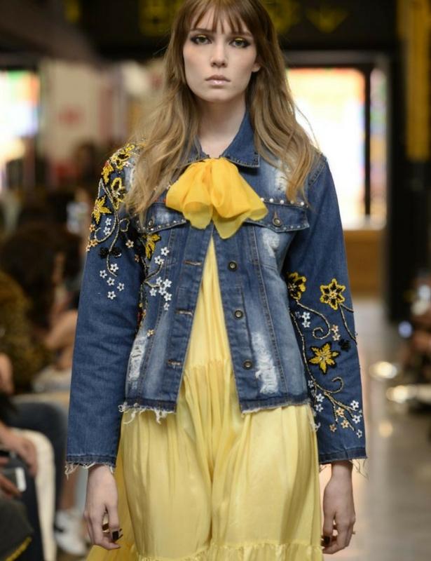 Denim Embroidered Jacket Runway