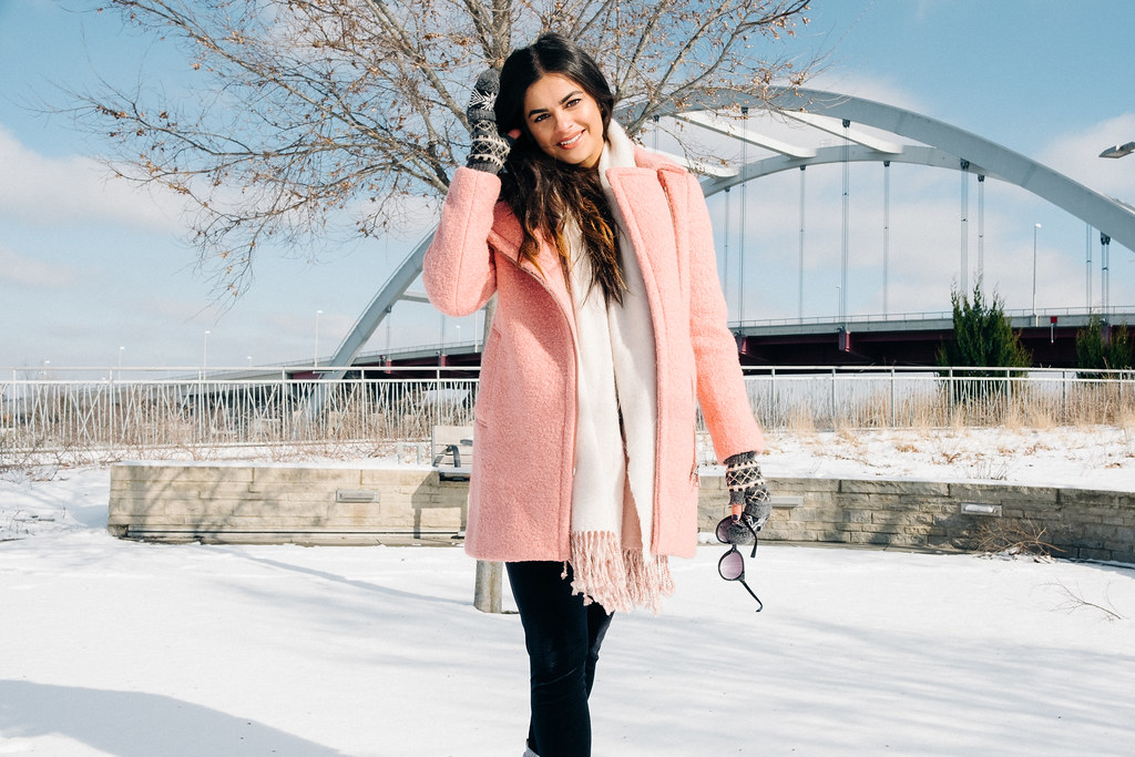 Priya the Blog, Nashville fashion blog, Winter outfit pink coat, LOFT textured moto coat, pink Dr. Martens, snow day outfit, Nashville snow day, snow outfit with pink coat