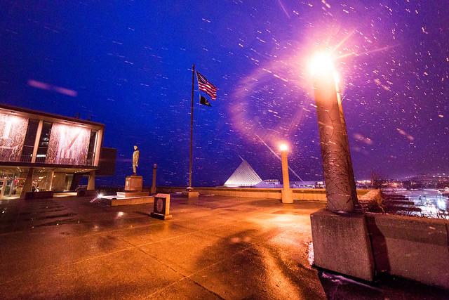 Snow, War Memorial, and MAM