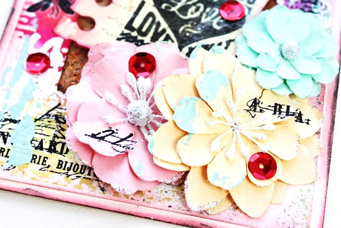 Meihsia Liu Simply Paper Crafts Mixed Media Love Note Card Simon Says Stamp Monday Challenge Tim Holtz Prima Flowers 4