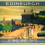 Sat, 2017-12-02 16:22 - Poster produced for the London & North Eastern Railway (LNER) showing a young woman admiring the view from the ramparts of Edinburgh Castle. Artwork by A van Anrooy.