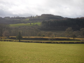 Remnants of Y Gaer (Cicucium Roman Fort), with Twyn y Gaer behind