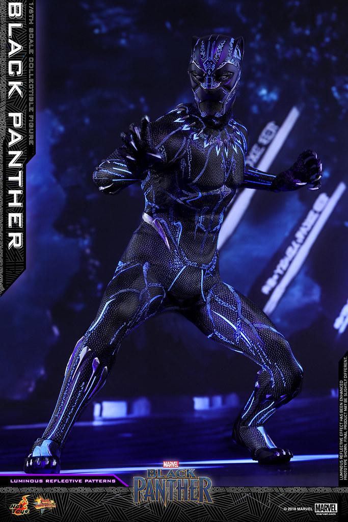 黑豹戰衣的螢光特效塗裝實在太狂啦~! Hot Toys – MMS470 –《黑豹》黑豹 Black Panther 1/6比例人偶作品