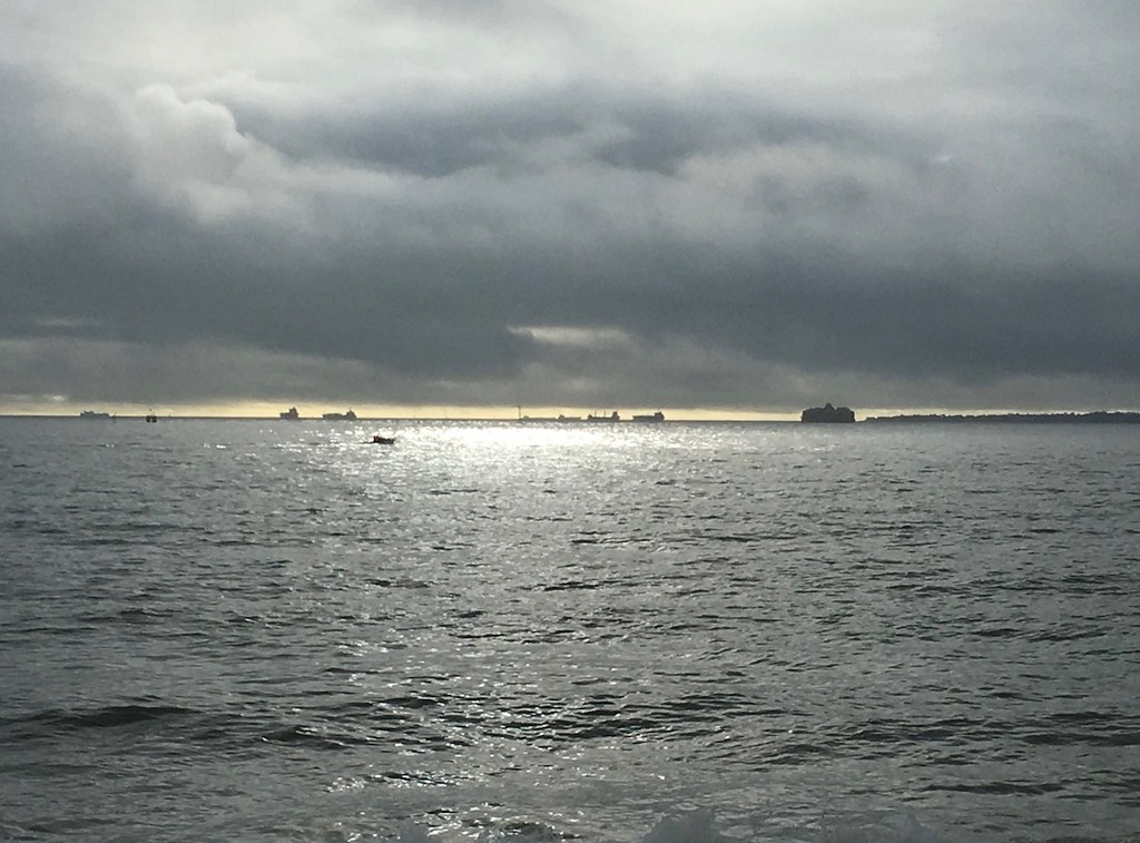 Distant ships and sun, Southsea Portsmouth to Hayling Island walk
