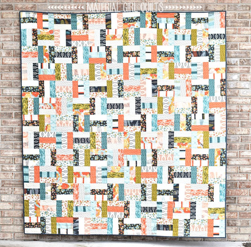 Nomad Jelly Roll Rail Fence quilt and tutorial by Amanda Castor of Material Girl Quilts