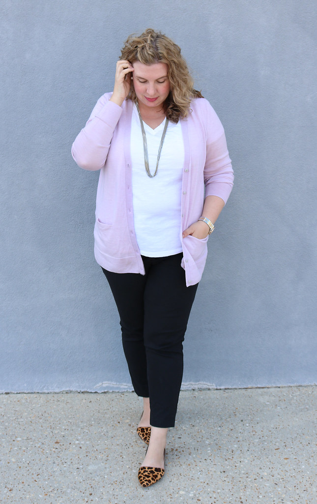 lilac cardigan, white tee, black pencil pants, leopard flats 7