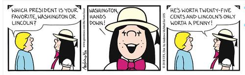 Born Loser President's Day cartoon Washington vs Lincoln