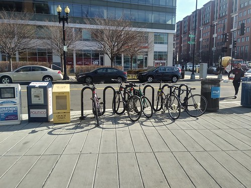 Bicycle racks adjacent to the street at the Navy Yard Metrorail Station (technically these racks don't meet DC regulations and industry practice)