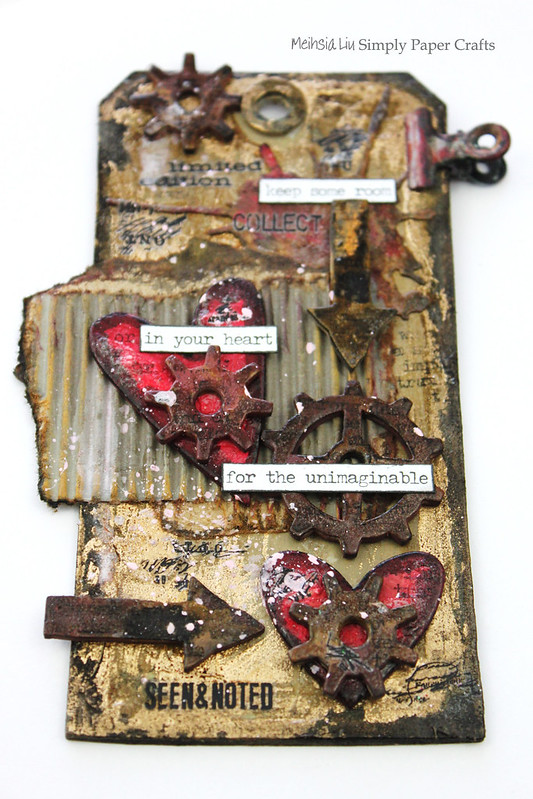 Meihsia Liu Simpl Paper Crafts Mixed Media Tag Room for Heart Simon Says Stamp Tim Holtz 7