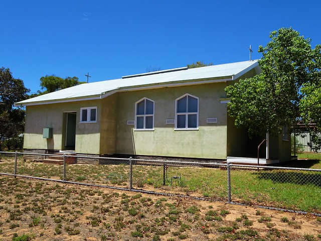 Underbool. The green painted Catholic Church. Erected in the 1960s. It is still in use.