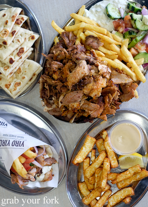 Pork yiro, mixed yiro plate and haloumi fries at Yiro Yiro Greek kebab shop in Belmore