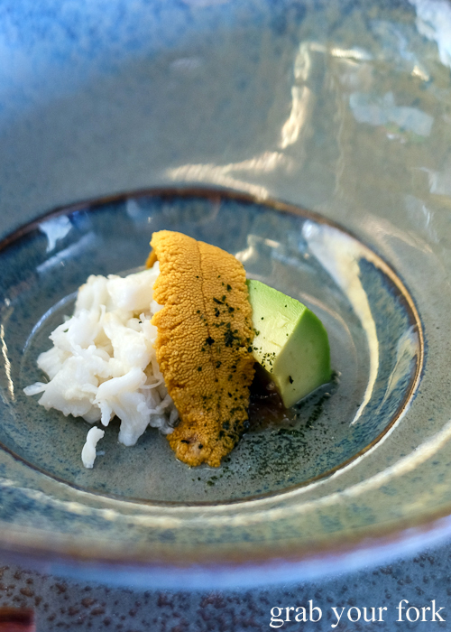 Tasmanian sea urchin roe with spanner crab and avocado, part of our omakase by Chef Ryuichi Yoshii at Fujisaki by Lotus at Barangaroo in Sydney