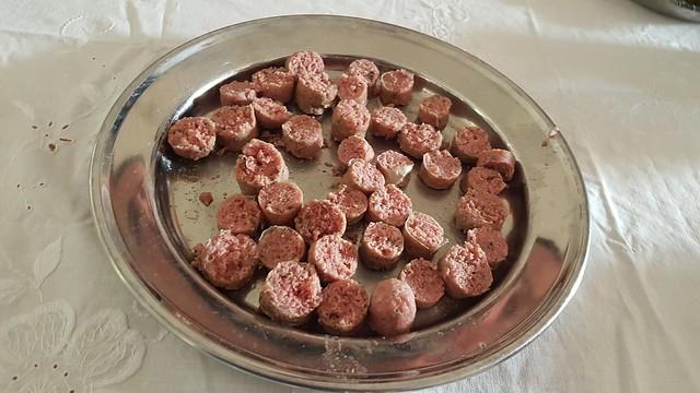 Boiled bratwurst