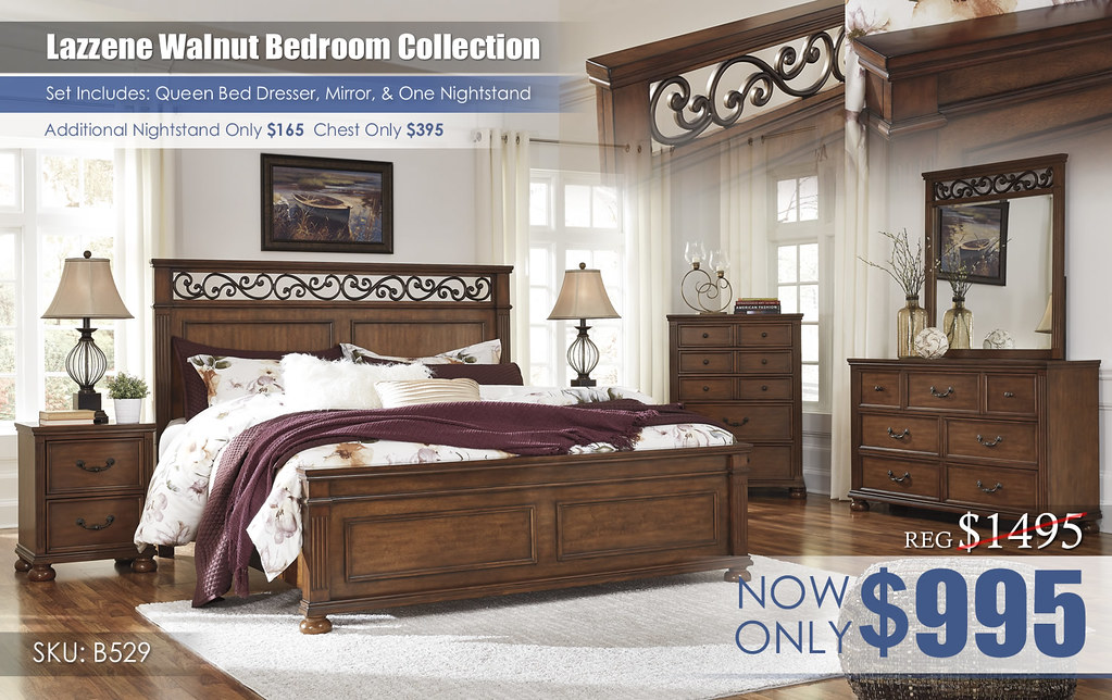 Lazzene Walnut Bedroom Collection_B529-31-36-46-58-56-97-92