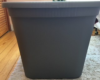 Step one in building an outdoor shelter for feral cats: buy a 20 gallon heavy duty plastic bin with lid.
