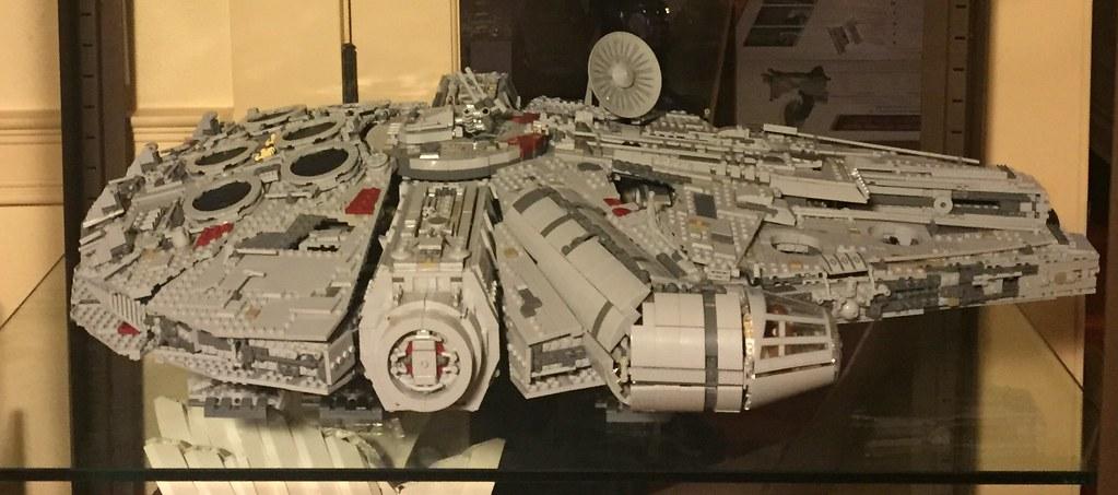 UCS Millennium Falcon on display.