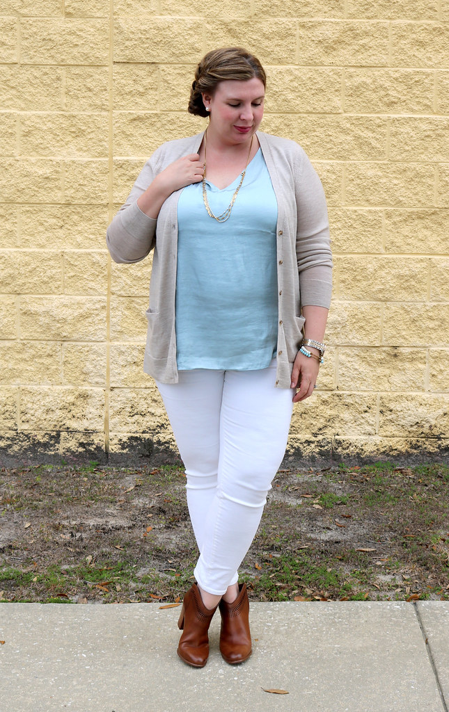 white jeans, tan cardi, aqua shell, cognac booties 1