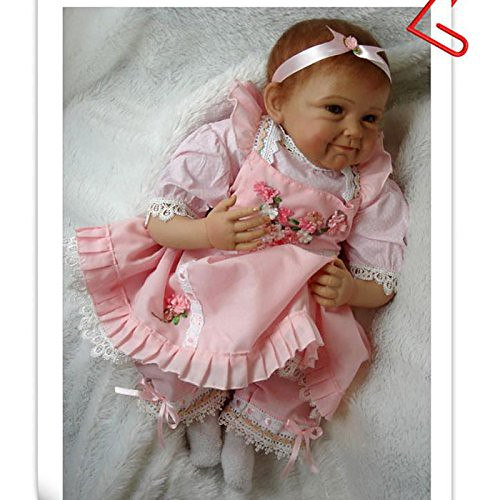FCH 22 Inch Silicone Vinyl Washable Soft Body Lovely Simulation Reborn Vivid Baby Doll in Suspender Dress Pink Fashionable Magnetic Mouth Lifelike Boy Girl Toy