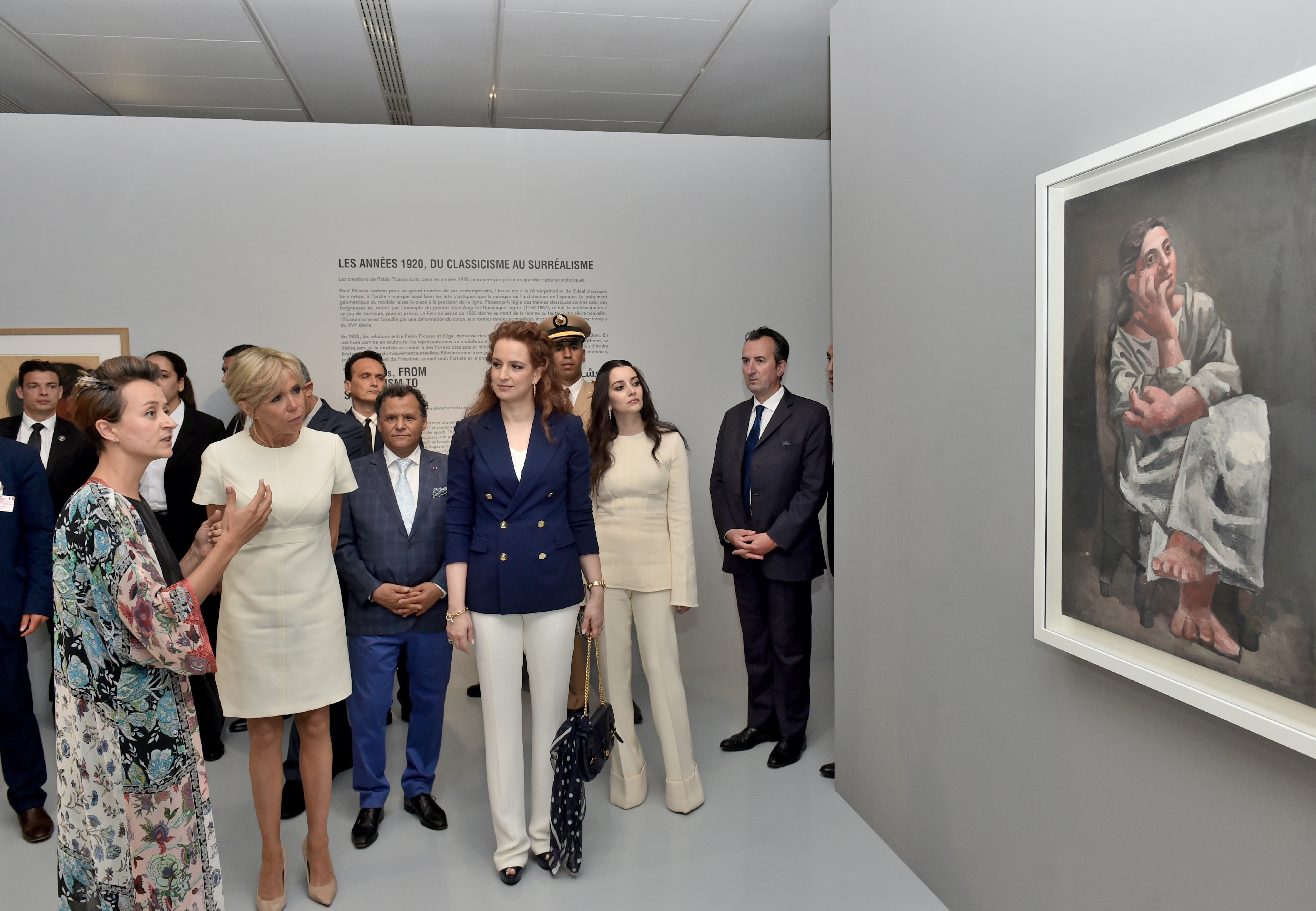 Lalla Salma et Brigitte Macron visitent l'exposition Face à Picasso