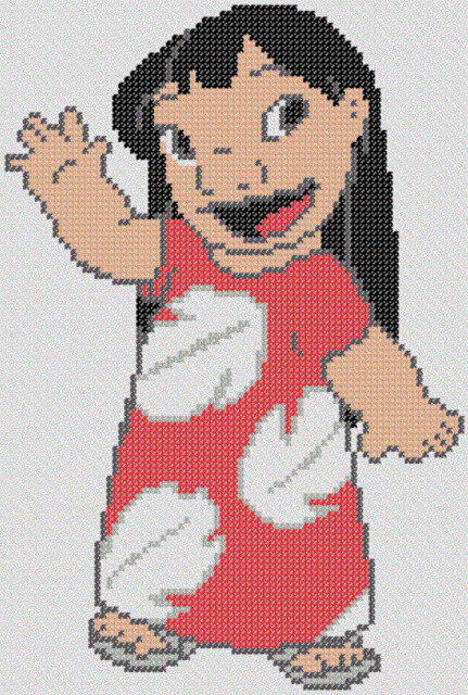 Preview of Stitch's Friend Lilo Cross Stitch Pattern