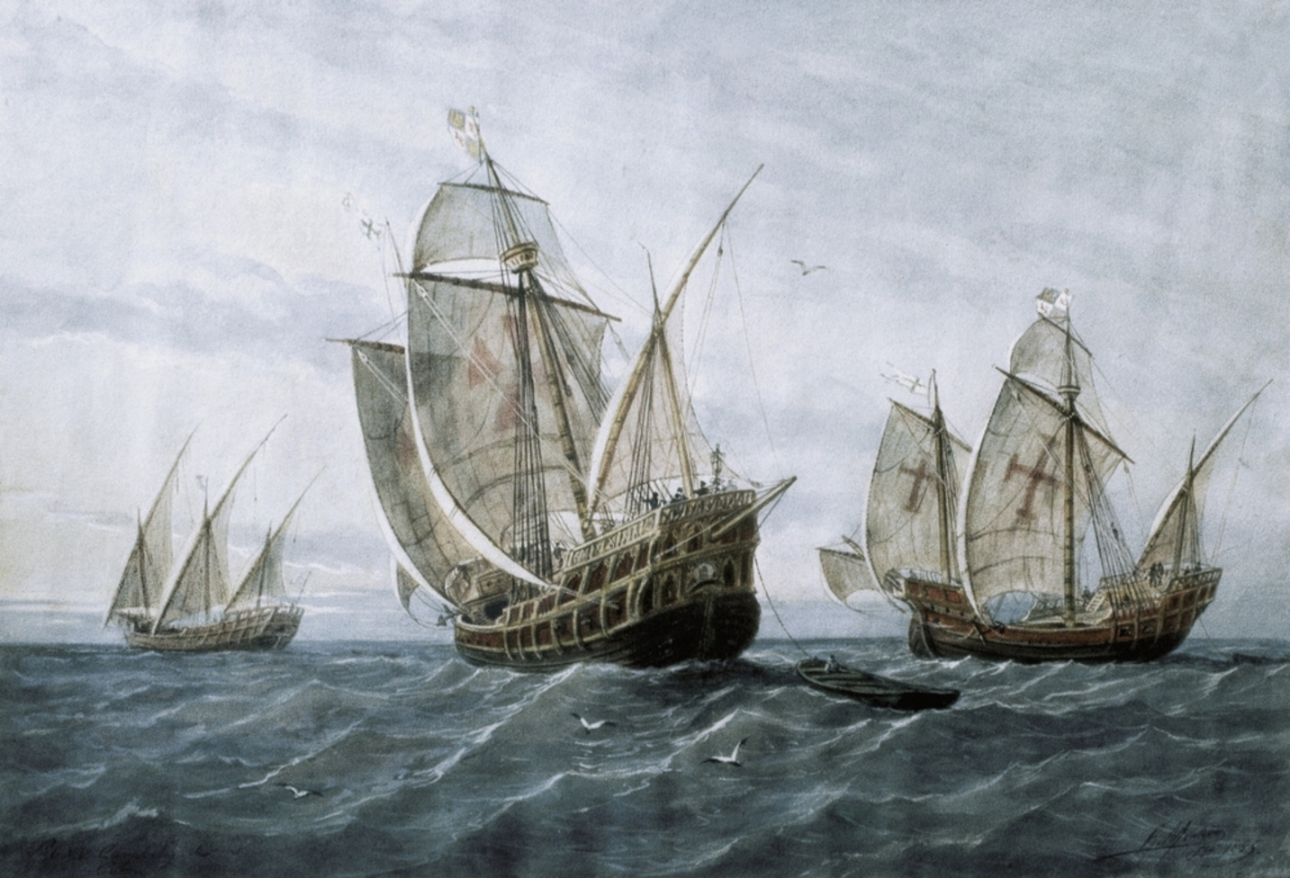 The Pinta, the Santa María and the Niña.