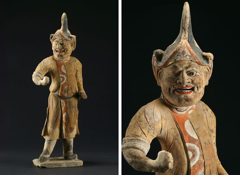 《加彩胡人俑》(730年、甘粛省慶城県穆泰墓出土、慶城県博物館蔵)