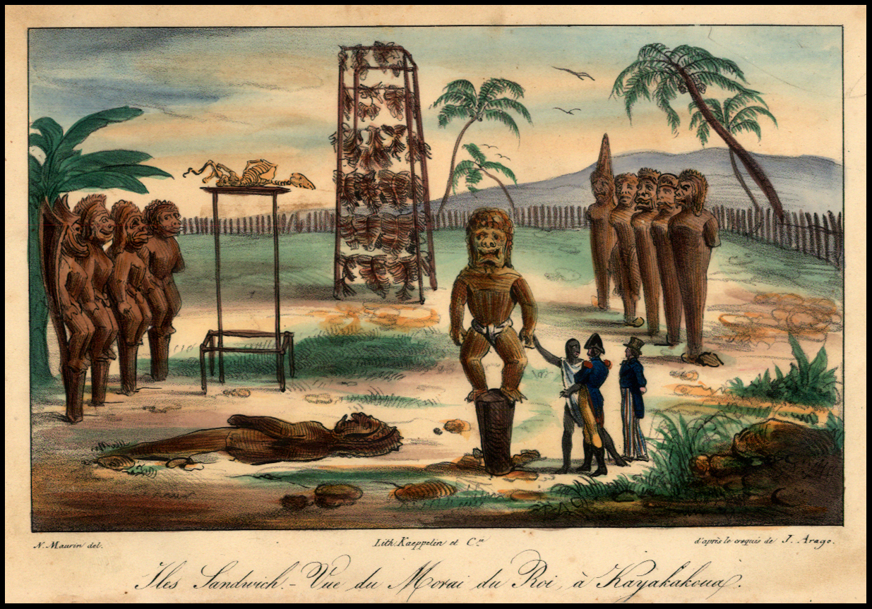 'Iles Sandwich - Vue du Morai du Roi a Kayakakoua' drawn by Jacques Arago and by Maurin.. Marvelous image of a ceremonial reception of French Naval Officers in Hawaii, from Jacques Arago's rare account of Freycinet's travels around the world from 1817 to 1820..First published in 1822, Arago's account met with much success. This plate is newly drawn by N. Maurin after the original sketchbook by Jacques Arago, who had become blind.