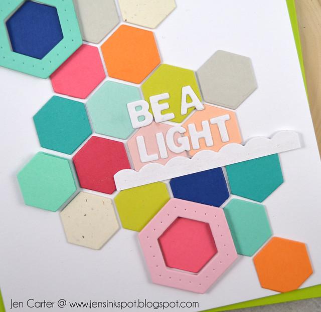 Jen Carter Winnie Walter Josephine Hexagons Holiday Tiles Be Light Closeup
