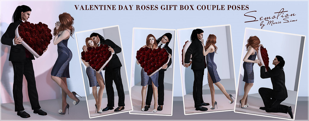 SEmotion ~ Frosensum Valentine Roses Gift Box Couple Poses – 5 couple BENTO poses with roses heart box
