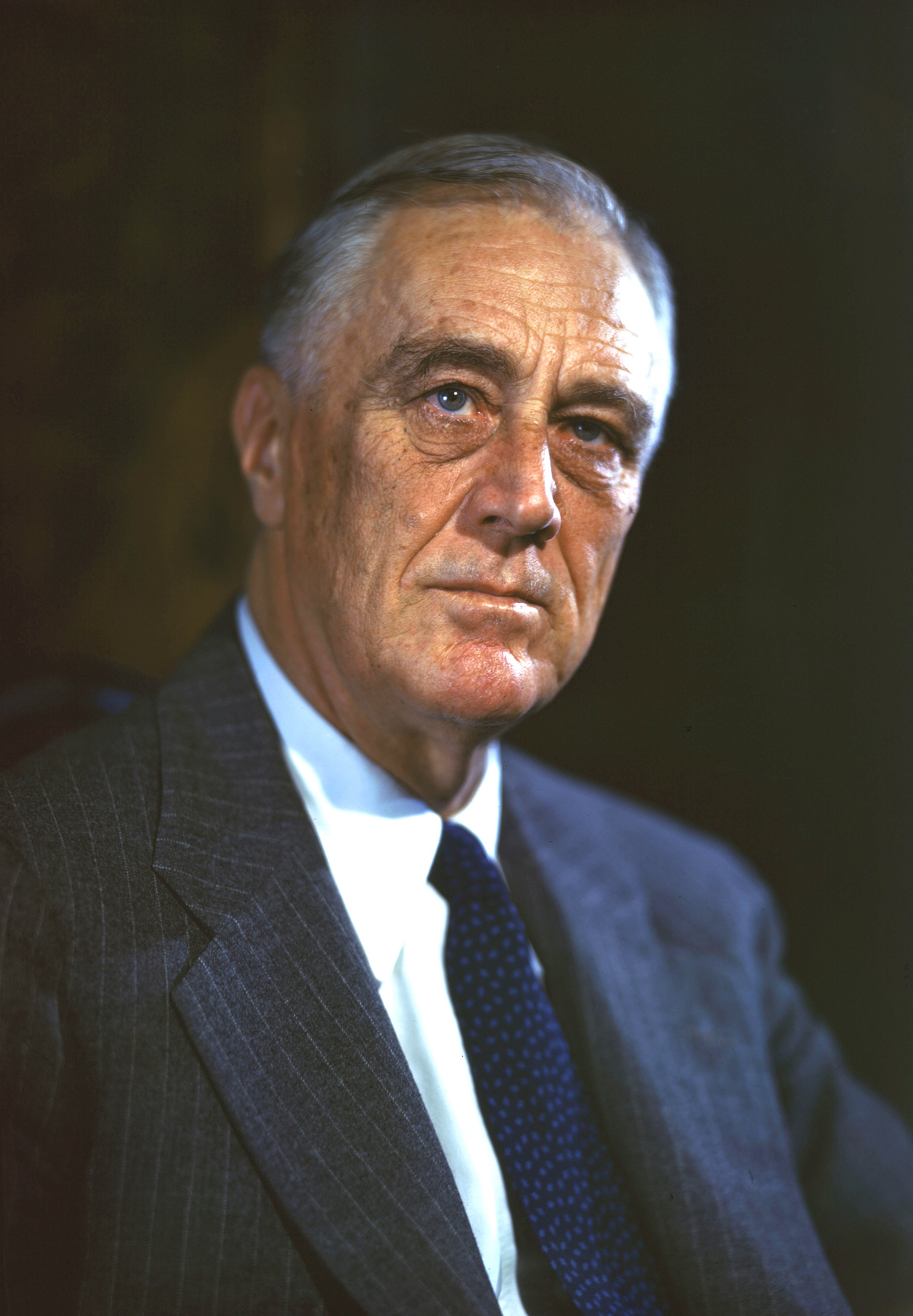 Original color transparency of FDR taken at 1944 Official Campaign Portrait session by Leon A. Perskie, Hyde Park, New York, August 21, 1944.