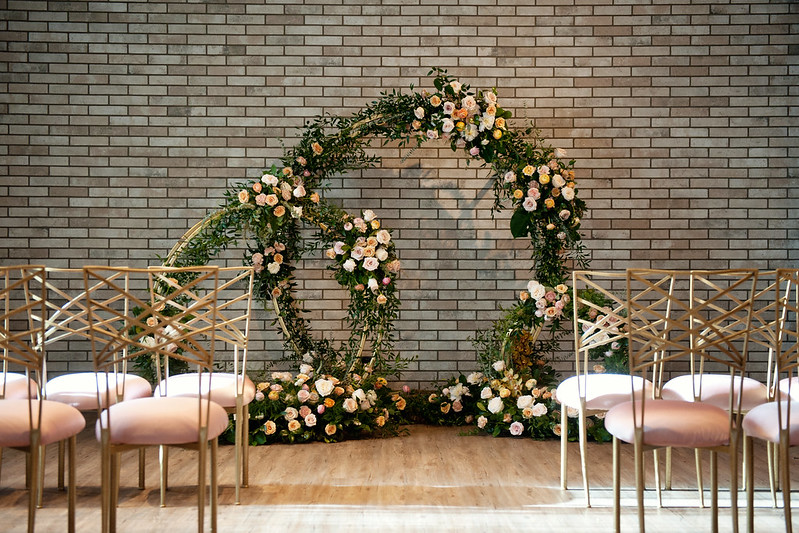 Gold circle arbours, Flowers by Janie, Calgary Florist, Tara Whittaker Photography