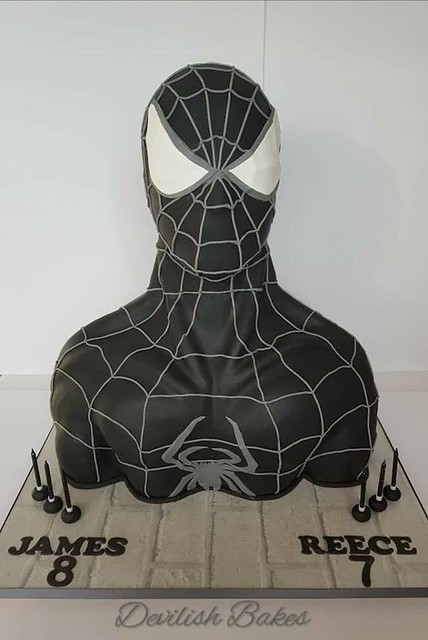 Life Size Black Spider-Man Bust Cake by Vicki Louise Fawcett of Devilish Bakes Plymouth
