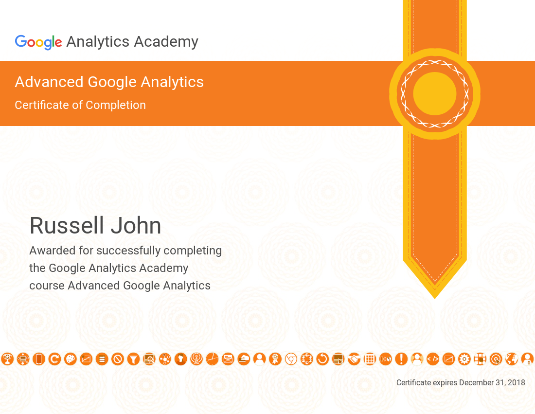 Certificate of Completion - Advanced Google Analytics - Russell John