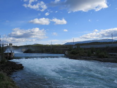 View of Whitehorse Dam spillway in the middle of June - part 1