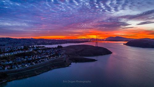 carquinezstrait glencove vallejo benicia mountdiablo dawn clouds sunrise aerialphotography