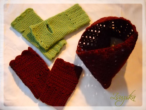 crochet, möbius , shawl, fingerless gloves