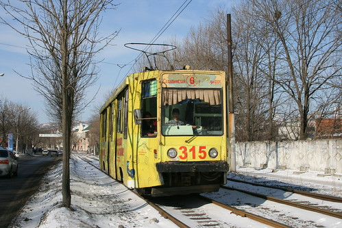 Vladivostok tram 71-608К(315) between Shkolnaya.Sta and Klubnaya.Sta, Vladivostok, Primorsky Krai, Russia /Jan 3, 2018