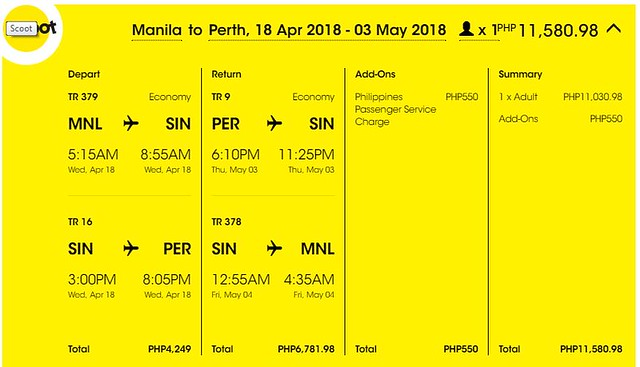 Manila to Perth Roundtrip Scoot Promo April 18 to May 3, 2018